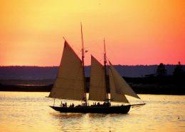 Schooner ALERT sails at Sunset