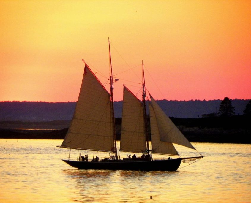 Schooner ALERT sails at Sunset